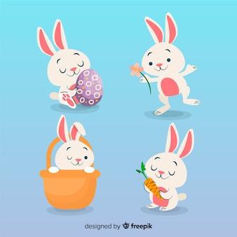 Collezione di coniglietto di pasqua piatta