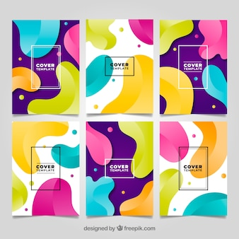 Collezione di copertine colorate con forme a bolle