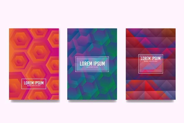 Collezione di copertine colorate esagonali e poligonali