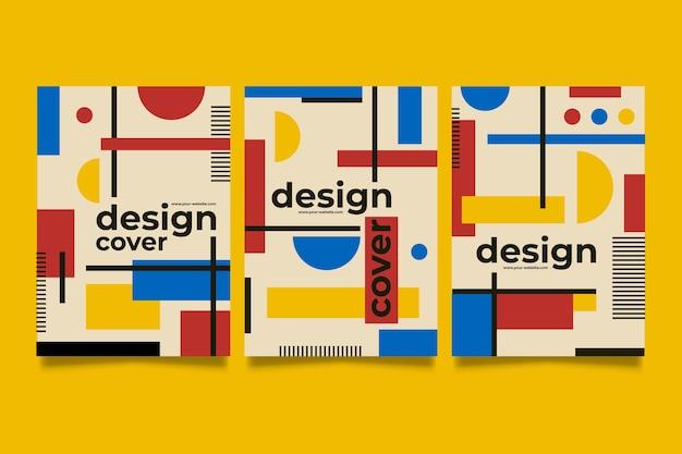 Collezione di copertine di design grafico in stile baugaus