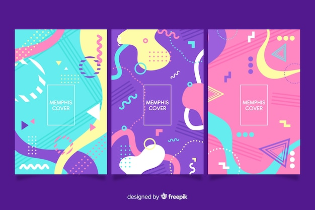 Collezione di copertine di design memphis