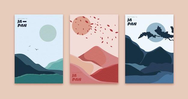 Collezione di copertine giapponesi colorate minimal