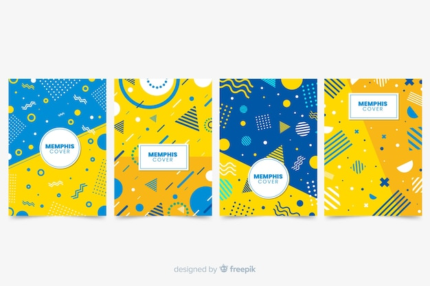 Collezione di copertine memphis con giallo