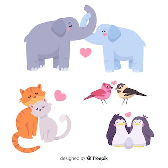 Collezione di coppie animali di san valentino