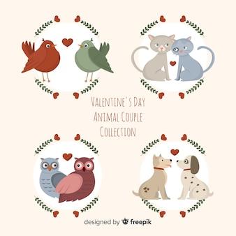 Collezione di coppie animali san valentino piatto
