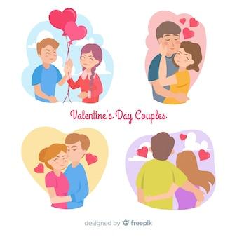 Collezione di coppie colorate san valentino
