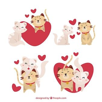Collezione di coppie di gatti di san valentino