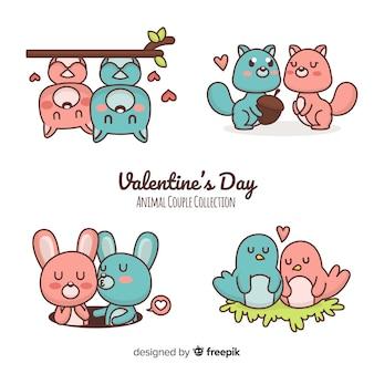 Collezione di coppie di san valentino dei cartoni animati