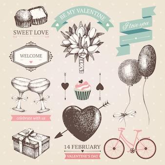 Collezione di cornici, bordo, nastri e altri elementi vintage di san valentino.