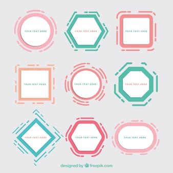 Collezione di cornici colorate con forme geometriche