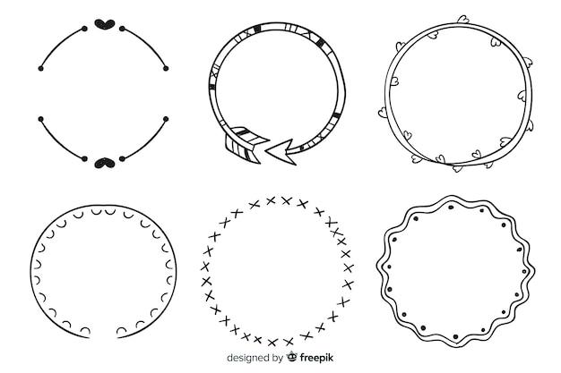 Collezione di cornici decorative disegnate a mano