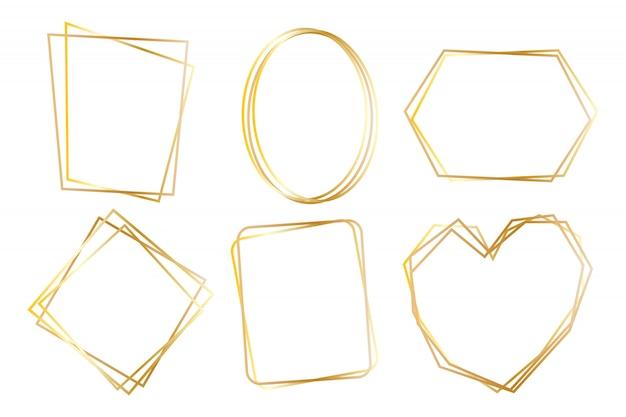 Collezione di cornici di lusso poligonale dorata insieme vettoriale