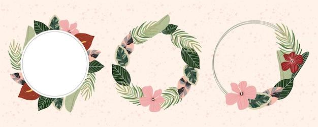 Collezione di cornici floreali estive tropicali