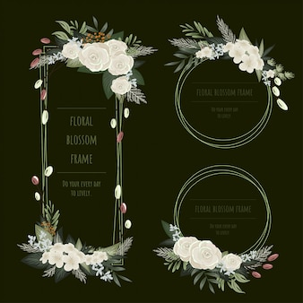 Collezione di cornici floreali per biglietti d'invito e grafica.