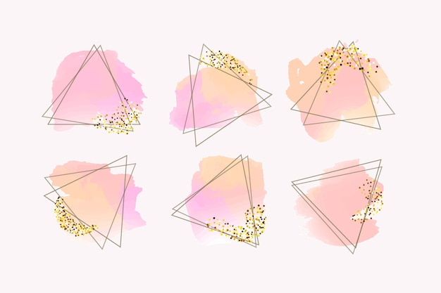 Collezione di cornici glitter con pennellate