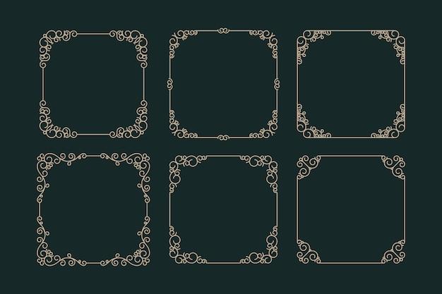 Collezione di cornici ornamentali retrò