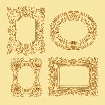 Collezione di cornici ornamentali vintage