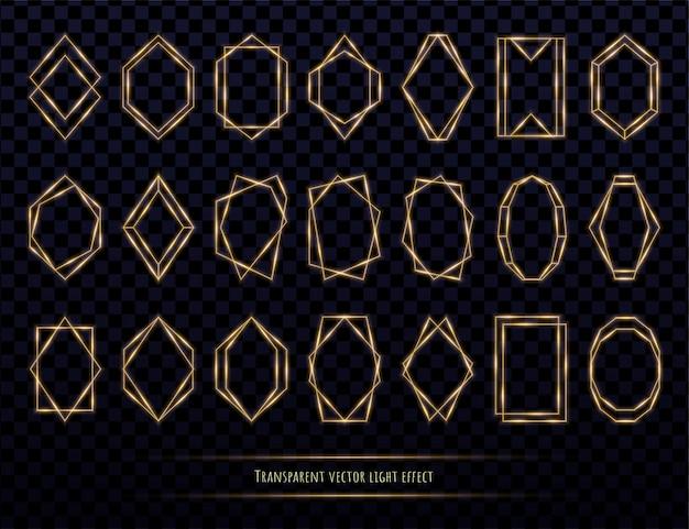 Collezione di cornici poligonali dorate incandescente isolato su trasparente