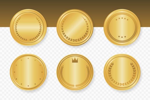 Collezione di cornici rotonde di lusso dorato. illustrazione vettoriale.