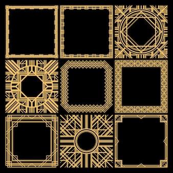 Collezione di cornici vuote decorative retrò con trafori geometrici eleganti classici in stile vintage isolato