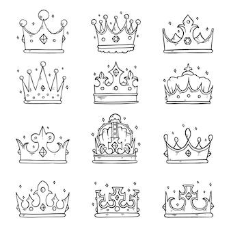 Collezione di corona doodle disegnato a mano