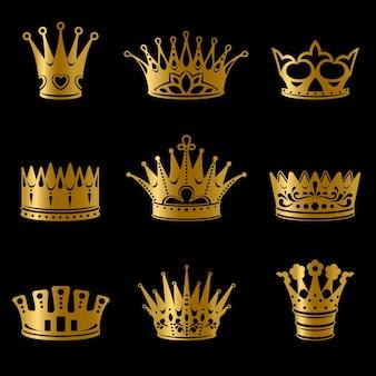 Collezione di corone reali in oro medievale