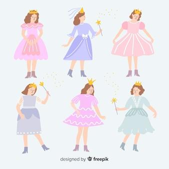 Collezione di costume principessa carnevale piatto