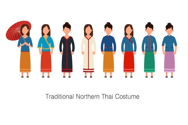 Collezione di costumi da donna tradizionale della thailandia del nord
