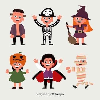 Collezione di costumi di halloween horror personaggio disegnato a mano