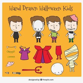 Collezione di costumi di halloween per i bambini