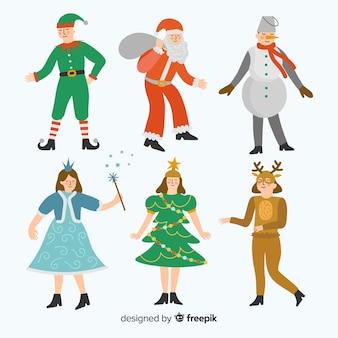 Collezione di costumi natalizi di carnevale piatto