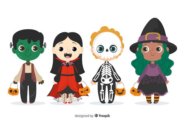 Collezione di costumi per bambini di halloween disegnati a mano
