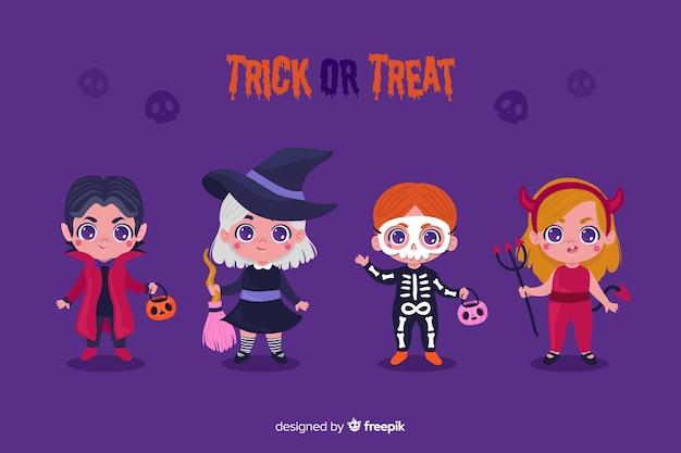 Collezione di costumi per bambini di halloween in design piatto