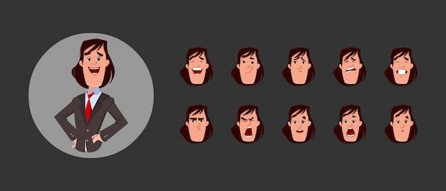 Collezione di creazione di carattere uomo d'affari giovane con varie emozioni facciali e sincronizzazione labiale.