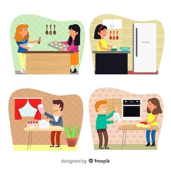 Collezione di cucina persona disegnata a mano