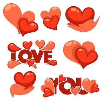 Collezione di cuore, mani e amore logo, concetto, etichette e forme