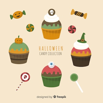 Collezione di cupcake di halloween piatta