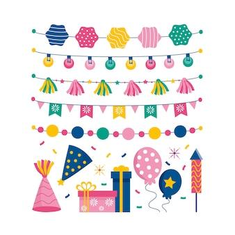 Collezione di decorazioni di compleanno