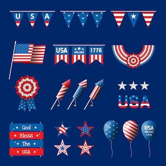 Collezione di decorazioni per la festa dell'indipendenza degli stati uniti il 4 luglio