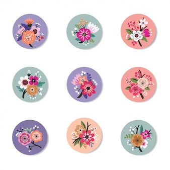 Collezione di design a spillo con beautiful floral