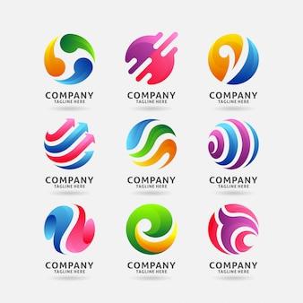 Collezione di design del logo astratto cerchio