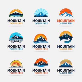 Collezione di design del logo di montagna