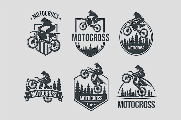 Collezione di design del logo di motocross