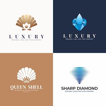 Collezione di design di gioielli, perle, conchiglie, logo con diamanti.