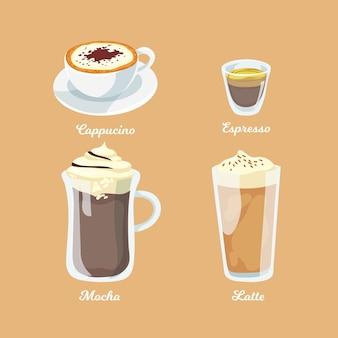 Collezione di design di tipi di caffè