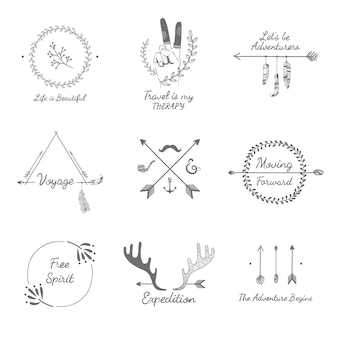 Collezione di design di viaggio disegnata a mano
