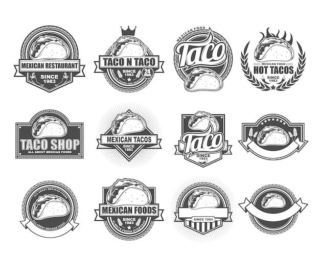 Collezione di design distintivo di vettore impostata con taco shop