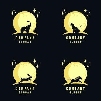 Collezione di design logo animale e luna
