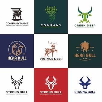 Collezione di design logo cervi, tori, mucche, bufali.