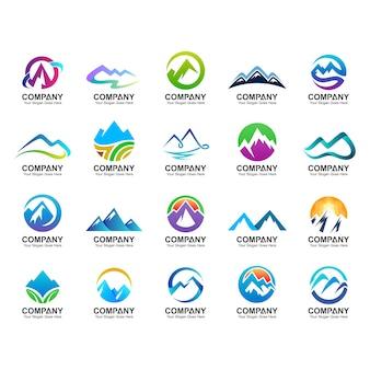 Collezione di design logo di montagna, icone della natura, set di logo montagna astratta